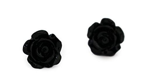 Miss Lovie Damen Ohrstecker Vintage Blumen Harz Ohrringe Cabochon 10mm Ohrschmuck Bronze (Schwarz)
