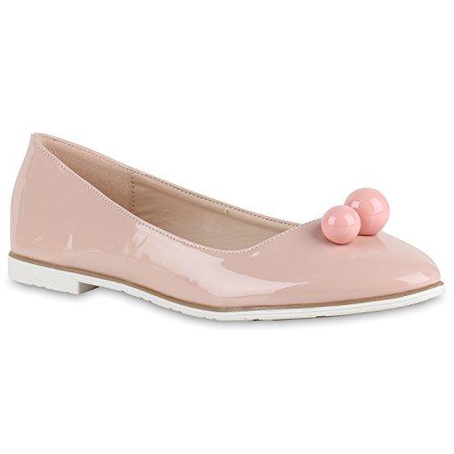 Damen Ballerinas Lack Slipper Flats Schuhe Lederoptik Rosa Lack Kugeln