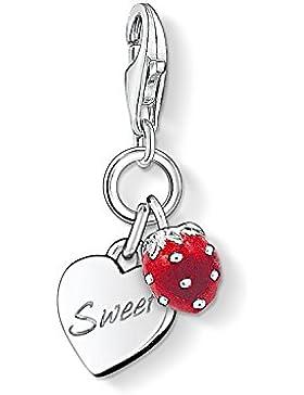 Thomas Sabo Damen-Charm-Anhänger Sweet Erdbeere Charm Club 925 Sterling Silber rot  0818-007-10