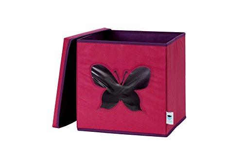 STORE.IT Spielzeugkiste mit Sichtfenster | Schmetterling | 30x30x30cm | rosa