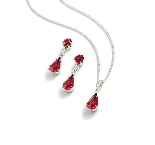 Ruby Diamante Tear Drop Jewellery Set - Silver Finish - Swarovski Crystal - in a Jewellery Presentation Box - Red Jewellery Set- Perfect Ladies Gift