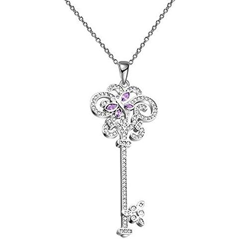 KnSam Donne Placcato in Platino Per la Collana Chiave di Filigrana Rolo Purple Cristallo Zirconia Cubica [Novità