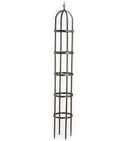 8' Powder-Coated Steel Garden Obelisk, Bronze