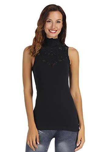 Disbest Damen-Trägershirts, Schlüsselloch Hoch Ausschnitt ärmellose Stretch Beiläufig Pullover Spitze T-Shirt, Damen Strick Weste Top(schwarz 36)
