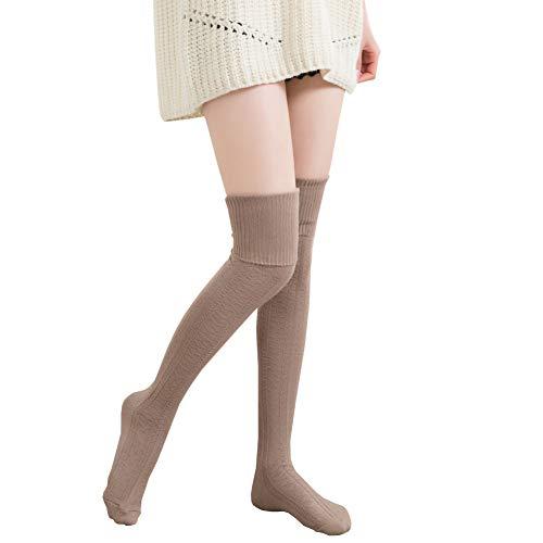 Bakicey Damen Kniestrümpfe Socken Overknee Strümpfe Strumpfhosen Baumwollstrümpfe Stricksocken Stützkniestrümpfe Gestrickte Socken Hoch Über das Knie Lange Socken Winter Strümpfe (74cm Khaki)