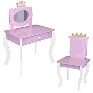 habeig Kinderschminktisch Kindertisch Prinzessin Kinder Mädchen Schminktisch für Kinder Frisiertisch (#120)