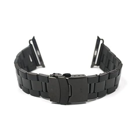 Aohro 38mm Bracelet de Montre Rechange en Acier inoxydable Watch Strap Band Replacement pour Apple Watch ( 38mm ) Edition & Sport avec outil (Smartwatch non inclus) - Solid metal - black