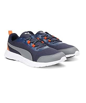 Puma Men's Sargasso Sea-Quiet Shade-Vibrant Orange Sneakers-6 UK/India (39 EU) (4059507938916)