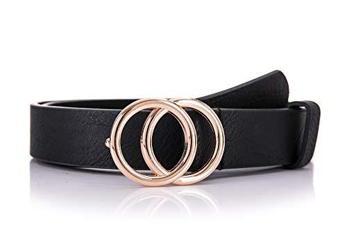 irisaa Schmaler Damen Gürtel mit runder Metallschnalle zwei Ringen, 2,8 cm breit und 0,4 cm stark, Farbe:schwarz, Länge:80