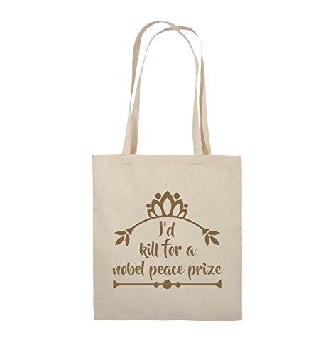 Comedy Bags - I'd kill for a nobel peace prize - Jutebeutel - lange Henkel - 38x42cm - Farbe: Schwarz / Silber Natural / Hellbraun