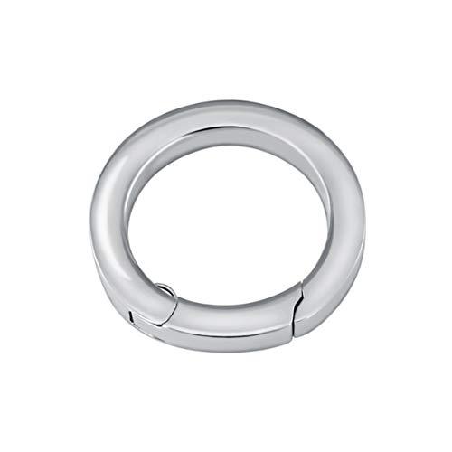 Quiges Clip Ring Carrier Silber 22 mm Edelstahl Verbindungsring für Kette und Coin Anhänger mit Karabiner Snap Verschluss -