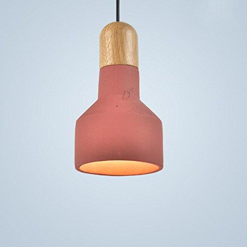 Suspensions Créatif rétro ciment pendentif lampe art restaurant bar bar café couleur pendentif en bois massif éclairage, red