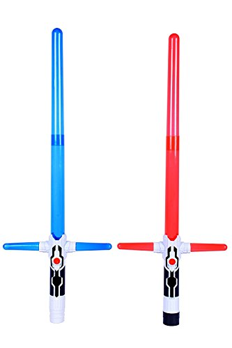 Planet of Toys Space Wars Series Swords with Side Extension Led Lights and Sound, Blue/Red