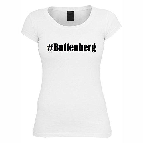 T-Shirt #Battenberg Hashtag Raute für Damen Herren und Kinder ... in den Farben Schwarz und Weiss Weiß