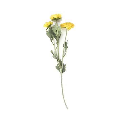 Kineca 3 Vorbauten künstliche gefälschte Voll Blooming Rose Blumen-Blumenstrauß Home Office Hochzeit Dekoration Land-Art Yellow (Land Hochzeit Dekorationen)