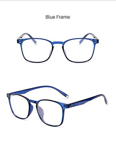 FANGUGF Gläser Tr90 Square Optical Computer Game Brillengestell Damen Herren Gewöhnliche Brillen Brillen Blue Square Platte