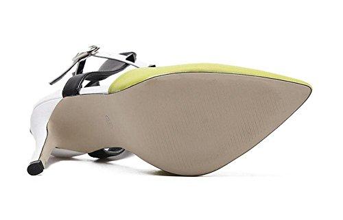GLTER Cinturino Donne Pumps colore misto Rivetti Charme punta Tacchi alti Baotou estate sandali tacco a cono da tennis scarpe da donna pompe Giallo Nero Yellow