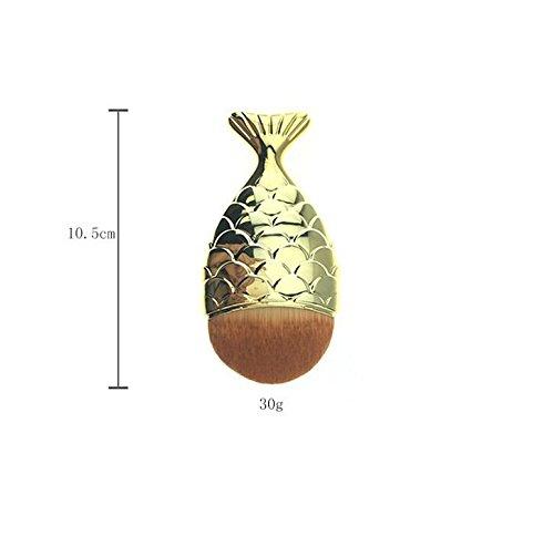 Keason Femmes Mini Mermaid Fish Scale Conception Fishtail Bottom Brush Face Poudre Libre Blush Crème Fond De Teint Correcteur Maquillage Brosses Cosmétiques (Couleur : Golden, Taille : 10.5cm)
