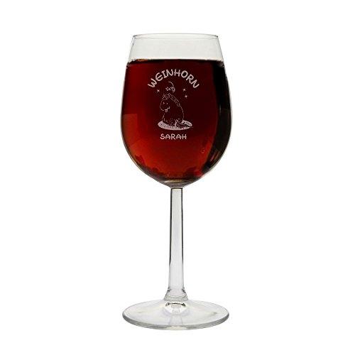 Weinglas 'Weinhorn' - mit Personalisierung - mit Geschenkbox - Einhorn-Liebhaber - Wein-Liebhaber -...