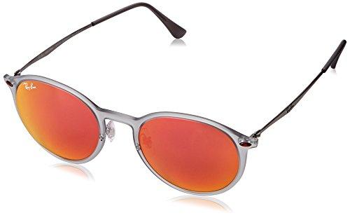 Ray-Ban Unisex Round Light Ray Sonnenbrille, Mehrfarbig (Gestell: Grau/Silber, Gläser: Rot Verspiegelt 650/6Q), Medium (Herstellergröße: 49)