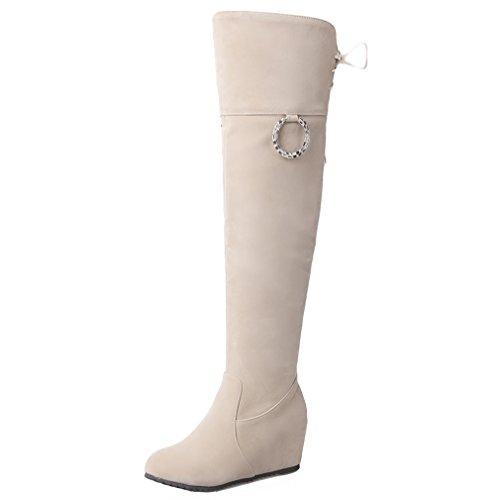 ENMAYER Frauen Beige Synthetische Wedge über den Knie-Höhe Stiefel 37.5 B(M) EU (Leder Kniehohe Wedge Stiefel)