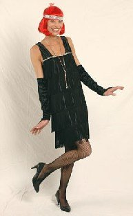 Körner Festartikel Charleston 20er-Jahre Kostüm für Damen schwarz-Silber M / L