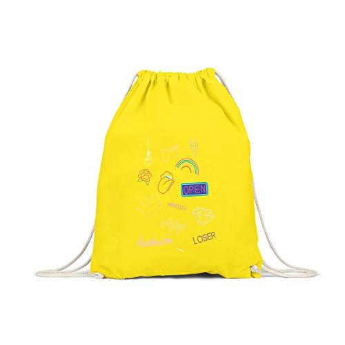 6d9fd8a6df424 licaso Turnbeutel Bedruckt Neon Life Print in Gelb Gym Bag mit robuster  Kordel Beutel Neon Lichter