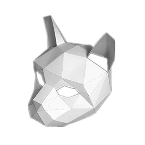 Panda Katze Kostüm - TIREOW Handmade Headgear Papiermodell Halloween Masken, 3D Stereo AFFE Labrador Hund Gorilla Panda Weiße Katze Tier Maske Für Cosplay Festival Prom Party Kostüm Frauen Männer (E)