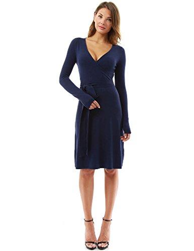 PattyBoutik Damen Strickkleid, langärmlig mit V-Ausschnitt und Gürtel (dunkelblau 44/L)