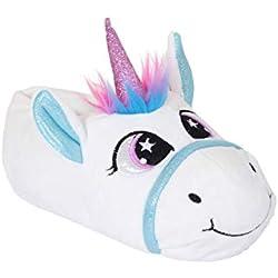Niña Nifty Kids 3D Novedad Unicornio Pantuflas - Niña', Arcoiris Unicornio, Talla - M - 11/12 - Infantes
