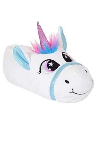 Martildo, originelle amüsante Unicorn-Hausschuhe für Damen und Kinder, Fußbekleidung, weiches warmes kuscheliges Plüsch, schönes Geschenk, Pink - weiß - Größe: 31 EU (Für Weihnachts-pyjama Teens)