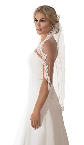 1e69e690b9b4c5 Braut Kämme (Unbekannt Schleier Brautschleier 1 Lage mit Kamm Strass Perlen  Umrandung Hochzeit Braut Weiß