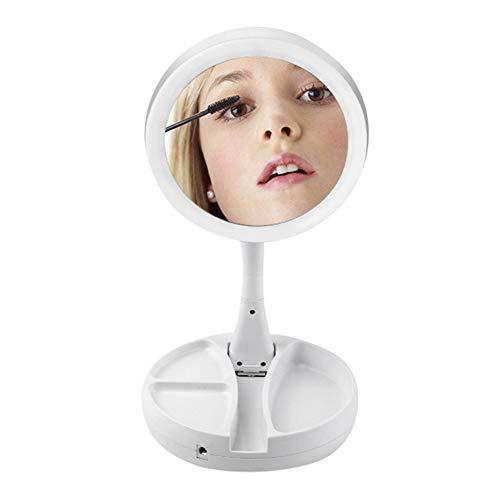 Majome Kosmetikspiegel Schminkspiegel Faltbare LED Kosmetikspiegel 10 X Vergrößerungsspiegel Desktop Spiegel Aufbewahrungsbox