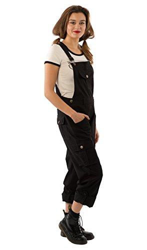 Freiheit Bib (Uskees Daisy Damen-Latzhose - Schwarz Verstellbare Beinlänge Mode Latzhose DAISYBLACK-18)