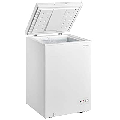 Cookology CCF99WH White Chest Freezer for Outbuildings, 99L 56cm Compact 4* star