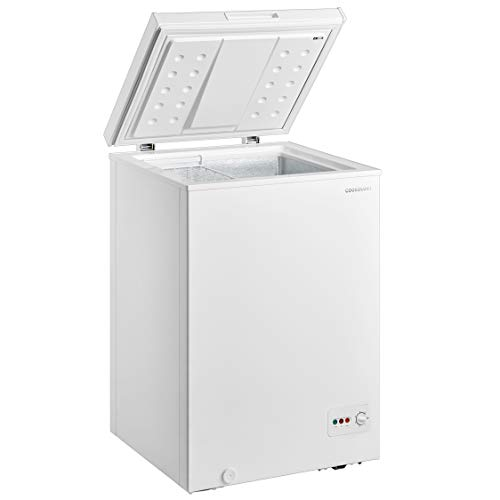 31d0F8caCPL. SS500  - Cookology CCF99WH White Chest Freezer for Outbuildings, 99L 56cm Compact 4* star
