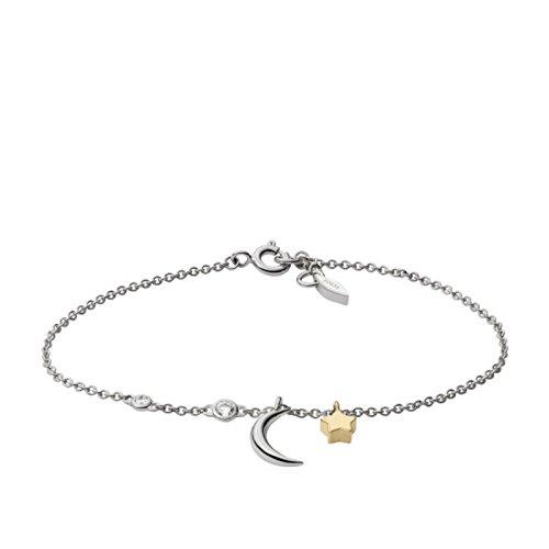 Fossil JFS00431998 Damen Armband Stern Mond Wish upon a star Sterling-Silber 925 Bicolor Gold Weiß Zirkonia 18,5 cm