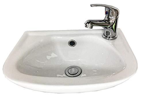 Eurocrescent Compact per lavandino da bagno con montaggio parete con miscelatore e rifiuti 360 MM di larghezza X250 MM profondo