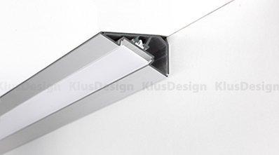 Profilo in alluminio anodizzato LOC-30 per strisce a LED 2m, 30 Gradi completo di copertura opaca in PVC