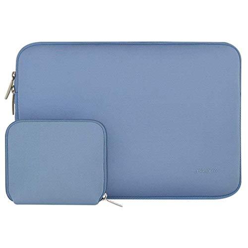 MOSISO Sleeve Hülle Tasche Kompatibel 15 Zoll Neueste MacBook Pro mit Touch Bar A1990/A1707, 14 Zoll ThinkPad Chromebook, Notebook Wasserabweisend Neopren Laptoptasche mit Klein Fall, Serenity Blau