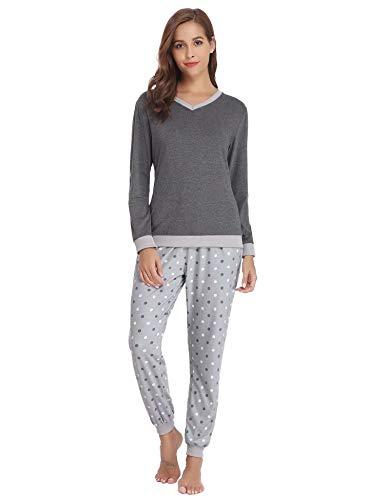 Aiboria Damen Schlafanzug Pyjama V-Ausschnitt mit Gepunkte Hose Baumwolle Lang Freizeithosen Jerseyhose Schlafanzughose Set Pant Zweiteiliger Anzug Nachtwäsche