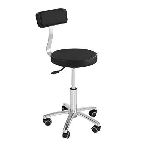 Physa terni sedia da lavoro sedia barbiere sedia parrucchiere poltrona barbiere con ruote (altezza 44,5–58 cm, supporto acciaio, imbottitura ecopelle) nera