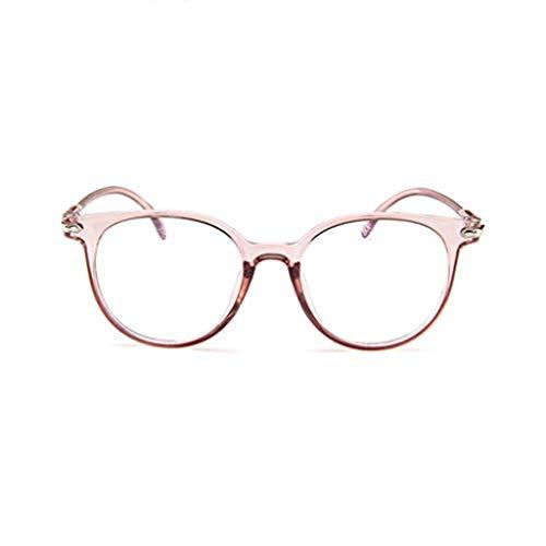 WooCo Retro Brille für Damen und Herren, Räumungsverkauf DEATU Mode Brillengestell Flacher Spiegel Transparente Brillengestell Plain Glass Brillen(Rosa,One size)