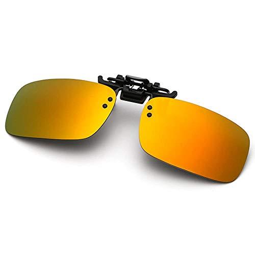 Polarisierte randlose Gläser AOLVO Metall Flip up Clip on Sunglasses Leicht Gewichts Außen Fahren Angeln Sonnenbrillen für Männer und Frauen Unisex Brillenträger (Orange)