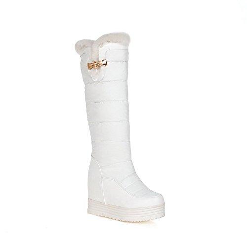 AgooLar Damen Reißverschluss Rund Zehe Hoher Absatz Mitte-Spitze Stiefel, Weiß, 36