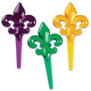 Transluscent Mardi Gras Fleur de Lis Picks (24-Pack)
