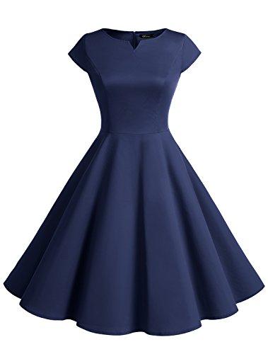 Wedtrend Damen 50er Swing Kleid Vintage Cap Sleeves Rockabilly Kleid Retro Hepburn Stil WTP10002 Navy (Baumwolle Kostüme Vintage)