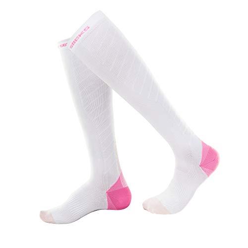 WADUANRUN Herren Milano Adult Socks/Männer und Frauen Marathonlauf Lange Kniestrümpfe elastische Laufsportsocken weißes Pulver männlich klein 37-42 (Schuhe Lauren Kleine Ralph Kinder)