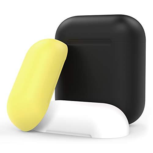 Moko custodia compatible con apple airpods 1/ airpods 2, cover in silicone con 3 coperchi rimovibili colorati, accessori airpods, custodia per carica batteria apple airpods - nero