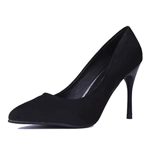 Sexy Spitze Schuhe des Stils des hohen Absatzes der Frauen bearbeiten Schuhe Pendlervelourslederschuhe,Black-34EU